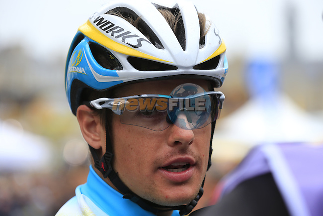 Jakob Fuglsang (DEN) Astana at sign on in Ypres before the start of the cobbled stage Stage 5 of the 2014 Tour de France running 155.5km from Ypres to Arenberg. 9th July 2014.<br /> Picture: Eoin Clarke www.newsfile.ie