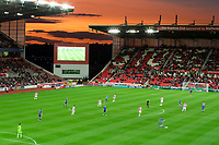 The sun setting on the Bet365 stadium during the Carabao Cup match between Stoke City and Rochdale at the Bet365 Stadium, Stoke-on-Trent, England on 23 August 2017. Photo by James Williamson / PRiME Media Images.