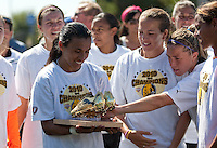 Marta holds her Golden Boot Award. FC Gold Pride defeated the Philadelphia Independence 4-0 to win the 2010 WPS Championship at Pioneer Stadium in Hayward, California on September 26th, 2010.