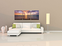 "Beautiful colorful sunset light illuminates the blue waters of the islands in the West indies. A mosaic arrangement of three prints displayed as a triptych (photograph is divided into three separate panels hung 1"" apart)"