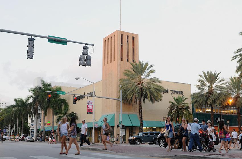 Miami Beach street scene, Washington Avenue at Lincoln Road, Jumanji Tower, Miami Beach, Florida