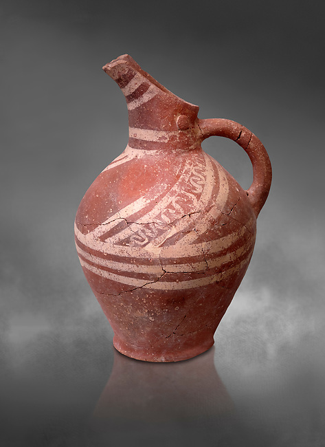 Early Minoan decorated clay jugs ,  Michlos Cemetery 2600-1900 BC BC, Heraklion Archaeological  Museum, grey background.