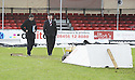 02/01/2010  Copyright  Pic : James Stewart.sct_jspa04_falkirk_v_st_johnstone  .:: ST JOHNSTONE MANAGER DEREK MCINNES AND FALKIRK MANAGER EDDIE MAY INSPECT THE PITCH :: .James Stewart Photography 19 Carronlea Drive, Falkirk. FK2 8DN      Vat Reg No. 607 6932 25.Telephone      : +44 (0)1324 570291 .Mobile              : +44 (0)7721 416997.E-mail  :  jim@jspa.co.uk.If you require further information then contact Jim Stewart on any of the numbers above.........