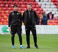 Notts County's strength and conditioning coach Mike Edwards, left, and Notts County manager Kevin Nolan prior to the game<br /> <br /> Photographer Chris Vaughan/CameraSport<br /> <br /> The EFL Sky Bet League Two - Lincoln City v Notts County - Saturday 13th January 2018 - Sincil Bank - Lincoln<br /> <br /> World Copyright &copy; 2018 CameraSport. All rights reserved. 43 Linden Ave. Countesthorpe. Leicester. England. LE8 5PG - Tel: +44 (0) 116 277 4147 - admin@camerasport.com - www.camerasport.com