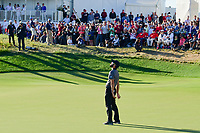 Adam Hadwin (CAN) reacts to barely missing a putt on 14 during round 4 Singles of the 2017 President's Cup, Liberty National Golf Club, Jersey City, New Jersey, USA. 10/1/2017. <br /> Picture: Golffile | Ken Murray<br /> <br /> All photo usage must carry mandatory copyright credit (&copy; Golffile | Ken Murray)