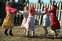 Russian girls at play, Nikolaevesk, Alaska