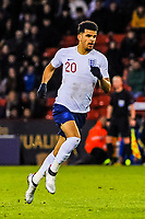 Liverpool's forward Domonic Solanke (20) for England U21's during the International Euro U21 Qualification match between England U21 and Ukraine U21 at Bramall Lane, Sheffield, England on 27 March 2018. Photo by Stephen Buckley / PRiME Media Images.