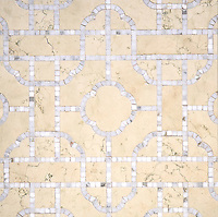 Royal Palace, a waterjet and hand-cut stone mosaic, shown in Bianco Antico honed and Calacatta polished, is part of the Altimetry® collection designed by Paul Schatz for New Ravenna.
