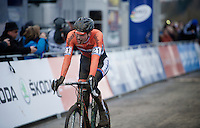 2015 World Champion Mathieu Van der Poel (NLD/BKCP-Powerplus) just crossed the finish line<br /> <br /> Elite Men's race<br /> <br /> 2015 UCI World Championships Cyclocross <br /> Tabor, Czech Republic