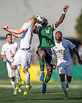 24 September 2016: University of Vermont Catamount Midfielder Mikel Kabala, a Sophomore from Kinshasha, DR of Congo, looks up at Dartmouth College Big Green Forward Eduvie Ikoba, a Sophomore from Bettendorf, Iowa, at Virtue Field in Burlington, Vermont. The teams played to an overtime 1-1 tie in front of an Alumni Weekend crowd of 1,710 fans. Mandatory Credit: Ed Wolfstein Photo *** RAW (NEF) Image File Available ***