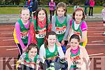 An Riocht athletes at the County Championships in Castleisland on Saturday front row l-r: Clodagh Collins, Tara O'regan, Ella Murphy,. Back row: Orlaith Buckley, Nicole Walker, Roisin Rahilly and Mya Griffin
