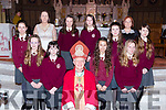 Muire Gan Smal, Castleisland Presentation pupils with Bishop Ray Browne, Principa Leona Twiss and Martha O'Mahony at their Confirmation in St Stephen and John church Castleisland on Thursday