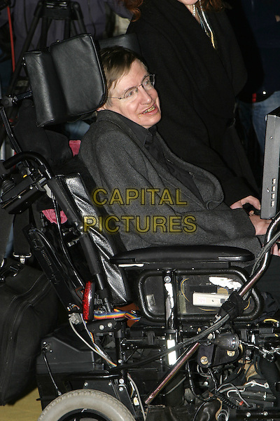 "STEPHEN HAWKING .Lemony Snicket's ""A Series of Unfortunate Events"" film premiere, Empire cinema, Leicester Square,.London, 16th December 2004..half length wheelchair steven.Ref: AH.www.capitalpictures.com.sales@capitalpictures.com.©Capital Pictures..."