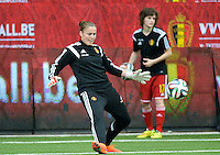 20150523 - SINT-TRUIDEN ,  BELGIUM : Belgian goalkeeper Justien Odeurs pictured during the friendly soccer game between the Belgian Red Flames and Norway, a preparation game for Norway for the Women's 2015 World Cup, Saturday 23 May 2015 at Staaien in Sint-Truiden , Belgium. PHOTO DAVID CATRY