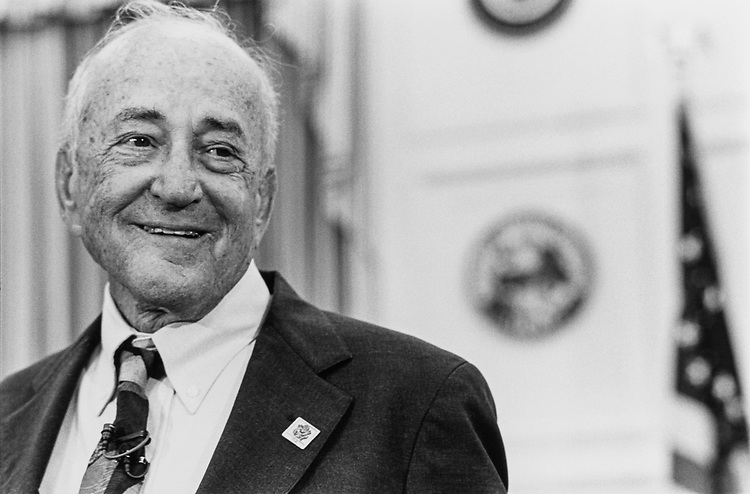 Close-up of Rep. William Lehman, D-Fla. during retirement press conference on Feb. 25, 1992. (Photo by Chris Ayers/CQ Roll Call)
