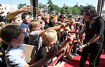 "SIOUX FALLS, SD - JULY 12:  Rock star Alice Cooper shakes hands with children and walks the red carpet to the dedication of the ""Welcome to my Nightmare"" studio at the Brennan Rock & Roll Academy Friday afternoon in Sioux Falls, SD.  (Photo by Dave Eggen/Inertia)"