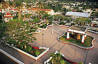 The main plaza or square in Santiago de Tuxtla which has as a center piece an enormous pre-hispanic Olmeca head.  Veracruz, Mexico 2002