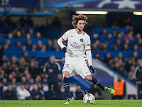 Goal scorer Adrien Rabiot of Paris Saint-Germain in action during the UEFA Champions League Round of 16 2nd leg match between Chelsea and PSG at Stamford Bridge, London, England on 9 March 2016. Photo by Andy Rowland.