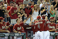 Arizona Diamondbacks first baseman Paul Goldschmidt (44) gets a standing ovation as he leaves the field during a game against the Washington Nationals at Chase Field on September 29, 2013 in Phoenix, Arizona.  Arizona defeated Washington 3-2.  (Mike Janes/Four Seam Images)