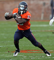 CHARLOTTESVILLE, VA- NOVEMBER 12: Running back Perry Jones #33 of the Virginia Cavaliers runs with the ball during the game against the Virginia Cavaliers on November 28, 2011 at Scott Stadium in Charlottesville, Virginia. Virginia Tech defeated Virginia 38-0. (Photo by Andrew Shurtleff/Getty Images) *** Local Caption *** Perry Jones