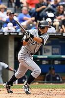 Mariners center fielder Ichiro Suzuki bats against the Royals at Kauffman Stadium in Kansas City, Missouri on May 27, 2007.  Seattle won 7-4.