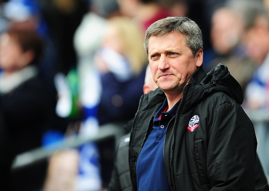 Bolton Wanderers Caretaker Manager Jimmy Phillips before kick-off<br /> <br /> Photographer Kevin Barnes/CameraSport<br /> <br /> Football - The Football League Sky Bet Championship - Cardiff City v Bolton Wanderers - Saturday 23rd April 2016 - Cardiff City Stadium - Cardiff <br /> <br /> &copy; CameraSport - 43 Linden Ave. Countesthorpe. Leicester. England. LE8 5PG - Tel: +44 (0) 116 277 4147 - admin@camerasport.com - www.camerasport.com