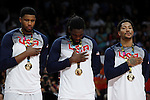 United State´s Rose, Faried and Gay listen to the national anthem with the golden medal during FIBA Basketball World Cup Spain 2014 final award ceremony after winning against Serbia at `Palacio de los deportes´ stadium in Madrid, Spain. September 14, 2014. (ALTERPHOTOSVictor Blanco)