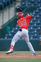 Julio De La Cruz (44), of the AZL Angels, at bat during an Arizona League game against the AZL Padres 1 on August 5, 2019 at Tempe Diablo Stadium in Tempe, Arizona. AZL Padres 1 defeated the AZL Angels 5-0. (Zachary Lucy/Four Seam Images)