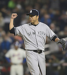 Hiroki Kuroda (Yankees), MAY 28, 2013 - MLB : Hiroki Kuroda of Yankees celebrates after being tagged out on a pickoff in the sixth inning of the MLB game between the New York Mets and the New York Yankees at Citi Field in New York, United States. (Photo by AFLO)