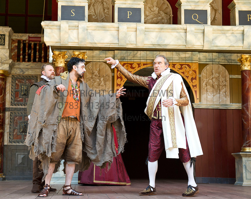 Julius Caesar by William Shakespeare. A Shakespeare's Globe Production directed by Dominic Dromgoogle. With Tom Kanji as Soothsayer, George Irving as Julius Caesar. Opens at Shakespeare's Globe Theatre on 2/7/14  pic Geraint Lewis