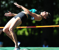 Memorial's Taryn Olson competes in the girls high jump at the WIAA D1 sectional track and field meet on 5/27/10 at Mansfield Stadium in Madison, Wisconsin