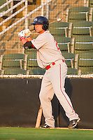 Bryce Brentz #25 of the Greenville Drive waits for his turn to bat against the Kannapolis Intimidators at Fieldcrest Cannon Stadium on May 8, 2011 in Kannapolis, North Carolina.   Photo by Brian Westerholt / Four Seam Images