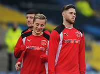(r-l) Fleetwood Town's Wes Burns, George Glendon and Bobby Grant during the pre-match warm-up <br /> <br /> Photographer Kevin Barnes/CameraSport<br /> <br /> The EFL Sky Bet League One - Oxford United v Fleetwood Town - Tuesday 10th April 2018 - Kassam Stadium - Oxford<br /> <br /> World Copyright &copy; 2018 CameraSport. All rights reserved. 43 Linden Ave. Countesthorpe. Leicester. England. LE8 5PG - Tel: +44 (0) 116 277 4147 - admin@camerasport.com - www.camerasport.com