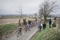 Ian Stannard (GBR/Team-SKY) leading the peloton up the cobbles of the Oude Kwaremont (2200m/4% av)<br /> <br /> 69th Kuurne-Brussel-Kuurne 2017 (1.HC)