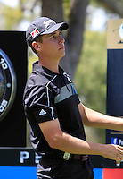 Oliver Goss (AUS) on the 18th tee during Round 1 of the ISPS HANDA Perth International at the Lake Karrinyup Country Club on Thursday 23rd October 2014.<br /> Picture:  Thos Caffrey / www.golffile.ie