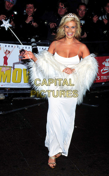 "EMMA HARRISON .Arrivals At the Royal World Charity Gala Premiere Of ""Spice World The Movie"" The Spice Girls' Film Empire Cinema, Leicester Square.fairy outfit, boa, fur, feathers, wand, full length, full-length, cleavage.www.capitalpictures.com.sales@capitalpictures.com.©Capital Pictures"