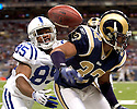 October 25, 2009 - St Louis, Missouri, USA - Rams defensive back Bradley Fletcher (32) deflects a pass away from Colts receiver Pierre Garcon in the game between the St Louis Rams and the Indianapolis Colts at the Edward Jones Dome.  The Colts defeated the Rams 42 to 6.  ..