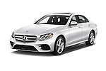 2018 Mercedes Benz E-Class E300 4 Door Sedan Angular Front stock photos of front three quarter view