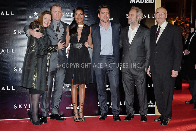 WWW.ACEPIXS.COM....October 29 2012, Madrid....(L-R) Barbara Broccoli, Daniel Craig, Naomie Harris, Javier Bardem, Sam Mendes and Michael G. Wilson at the 'Skyfall' premiere photocall at Santa Ana square on October 29, 2012 in Madrid, Spain.......By Line: FD/ACE Pictures......ACE Pictures, Inc...tel: 646 769 0430..Email: info@acepixs.com..www.acepixs.com