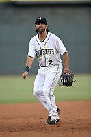 Third baseman J.J. Franco (2) of the Columbia Fireflies plays defense in game one of a doubleheader against the Rome Braves on Saturday, August 19, 2017, at Spirit Communications Park in Columbia, South Carolina. Rome won, 8-2. (Tom Priddy/Four Seam Images)