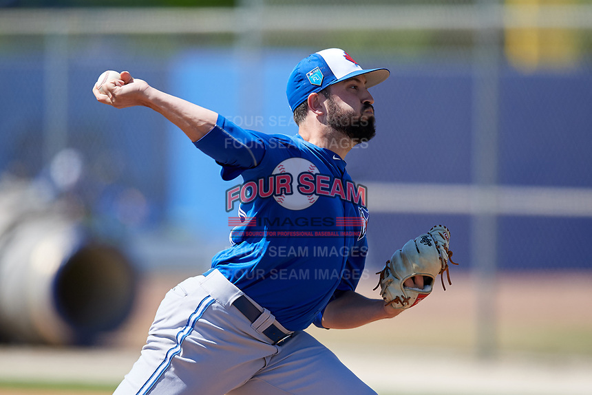 Toronto Blue Jays pitcher Dusty Isaacs (21) during a Minor League Spring Training Intrasquad game on March 14, 2018 at Englebert Complex in Dunedin, Florida.  (Mike Janes/Four Seam Images)