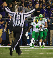 Duck defensive back Ugo Amadi had the game-clinching interception off backup quarterback KJ Carta-Samuels in the final minute.