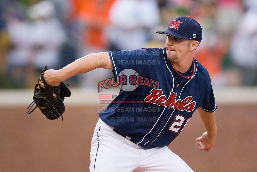 Relief pitcher Matt Tracy #29 of the Ole Miss Rebels in action against the Virginia Cavaliers at the Charlottesville Regional of the 2010 College World Series at Davenport Field on June 5, 2010, in Charlottesville, Virginia.  The Cavaliers defeated the Rebels 13-7.  Photo by Brian Westerholt / Four Seam Images