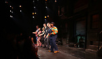 Nick kohn, Grace Choi, Dana Steingold, Ben Durocher, Jason Jacoby, Maggie Lakis and Danielle K. Thomas during the 'Avenue Q' 15th Anniversary Performance Curtain Call at New World Stages on July 31, 2018 in New York City.