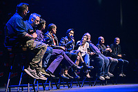 """NEW YORK - OCTOBER 5: Moderator, Damian Holbrook, Creator Alex Garland, Sonoya Mizuno, Karl Glusman, Jin Ha, Cailee Spaeny, Stephen McKinley Henderson, Zach Grenier and Executive Producer, Allon Reich attend the panel for FX's """"DEVS"""" during the 2019 NY Comic-Con at Hammerstein Ballroom on October 5, 2019 in New York City. (Photo by Anthony Behar/FX/PictureGroup)"""
