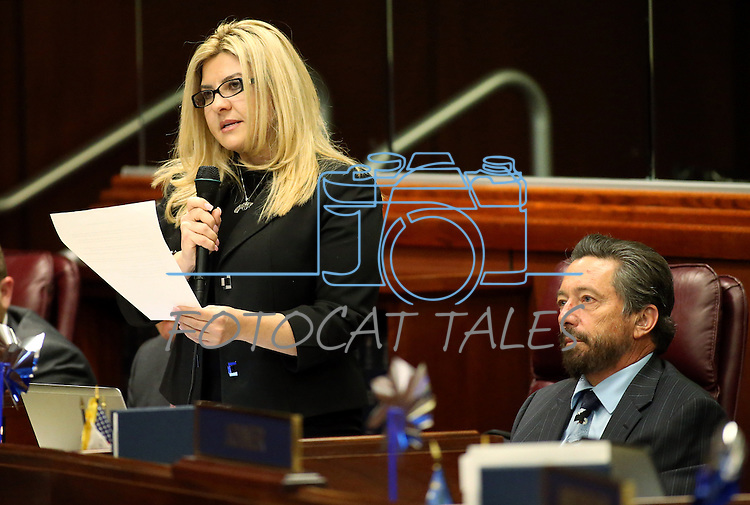 Nevada Assemblywoman Michele Fiore, R-Las Vegas, presents her controversial bill that would allow concealed weapon permit-holders to carry guns on college campuses during discussion on the Assembly floor at the Legislative Building in Carson City, Nev., on Monday, April 6, 2015. Tom Collins, who testified in support of the bill, is at right. <br /> Photo by Cathleen Allison