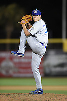 Daytona Cubs pitcher Austin Reed (32) delivers a pitch during a game against the Dunedin Blue Jays on April 16, 2014 at Florida Auto Exchange Stadium in Dunedin, Florida.  Dunedin defeated Daytona 5-1.  (Mike Janes/Four Seam Images)