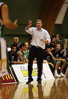 Manawatu coach Tim McTamney sends instructions to his players during the NBL Round 5 match between the Manawatu Jets  and Auckland Stars at Arena Manawatu, Palmerston North, New Zealand on Friday 10 April 2009. Photo: Dave Lintott / lintottphoto.co.nz