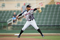 Kannapolis Intimidators starting pitcher Blake Hickman (33) in action against the Delmarva Shorebirds at Kannapolis Intimidators Stadium on June 30, 2017 in Kannapolis, North Carolina.  The Shorebirds defeated the Intimidators 6-4.  (Brian Westerholt/Four Seam Images)