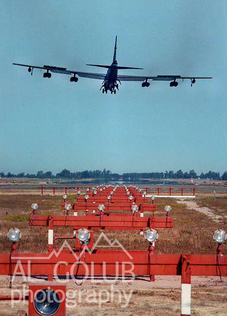 Castle Air Force Base on May 15, 1989.  Images of B-52's and KC-135's landing a taking off.  Images for base closure stories.   Photo By Al Golub<br /> <br /> Castle is named for Brigadier General Frederick W. Castle, who died on Dec. 24, 1944 flying his 30th bombing mission. He died leading an armada of 2000 B-17s on a strike against German airfields. On the way to the target, an engine failure over Liege, Belgium caused his bomber to fall behind, where it was attacked by Germans and caught fire. He ordered his men to bail out but stayed alone at the controls of the flaming Flying Fortress until it crashed. The entire crew, except Gen. Castle and one airman killed before the bailout order, survived. Gen. Castle received a Medal of Honor posthumously for his bravery.<br /> <br /> Castle became home to the 93rd Bombardment Wing in 1947. Aircraft stationed at Castle included B-29, B-17 and C-54 aircraft, with B-50 bombers arriving in 1949. In 1954, B-47 bombers arrived.  On June 29, 1955, Castle received the Air Force's first B-52. These heavy bombers can hold the equivalent of three railroad cars' worth of fuel. The first Air Force KC-135 jet tanker arrived May 18, 1957<br /> <br /> Castle was selected for closure under the Defense Base Closure and Realignment Act of 1990 during Round II Base Closure Commission deliberations (BRAC 91). The last of the B-52s left the base in 1994, followed by the departure of the last of the KC-135s in early 1995. The base closed September 30, 1995.